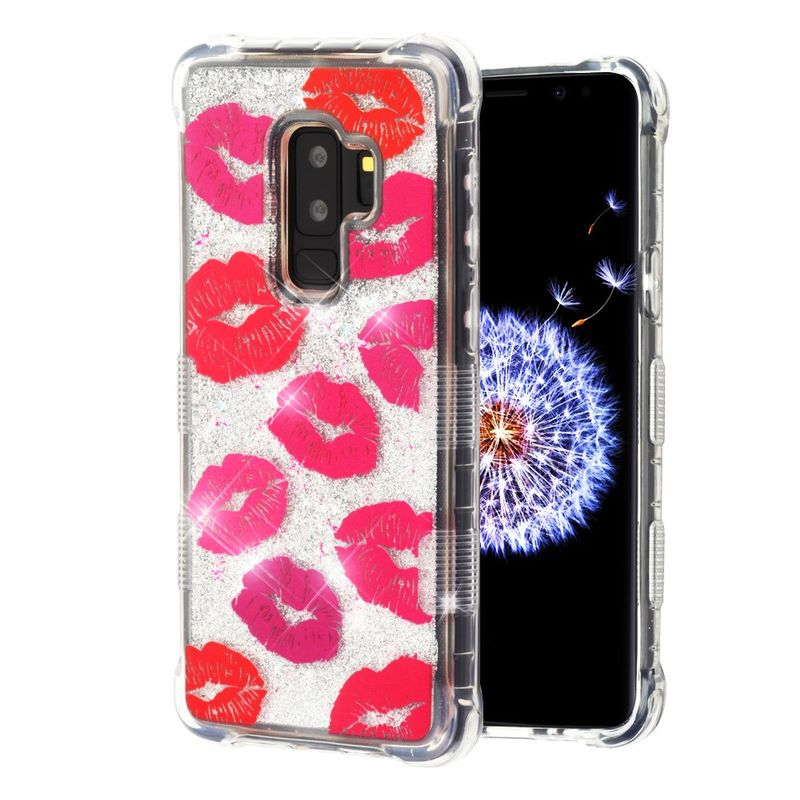 Samsung Galaxy S9 Plus Case Glitter by Insten Tuff Quicksand Glitter Blissful Kisses PC/TPU Rubber Case Cover Bling Sparkle For Samsung Galaxy S9 Plus S9+ Red (Bundle with USB Type C Cable) - image 1 of 3