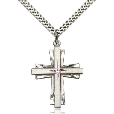 Sterling Silver Cross Pendant with 3mm Light February Purple Swarovski Crystal 1 1/4 X 7/8 inches with Heavy Curb