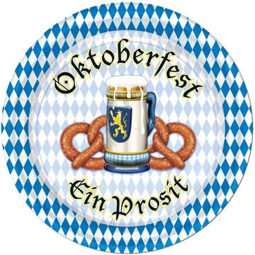Oktoberfest Dessert Plates (8 Pack) - Party Supplies