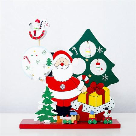 (Christmas Wooden Music Box Gift Santa Claus Snowman Desktop Decoration)