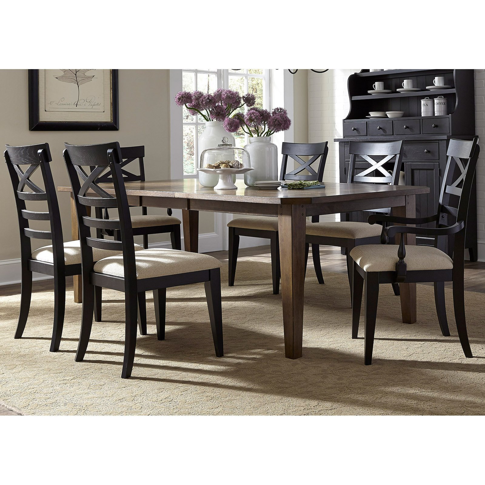 Liberty Furniture Industries Hearthstone 7 Piece X Back Rectangular Extension Dining Table Set