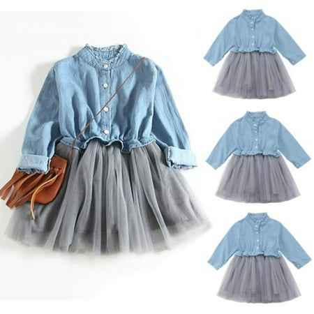 Toddler Kids Baby Girl Casual Long Sleeve Denim Tutu Tulle Princess Party Dress