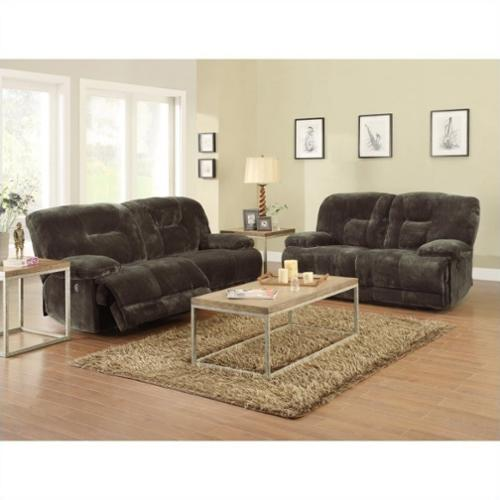 Trent Home Geoffrey Sofa and Loveseat Power Recliner Set in Chocolate