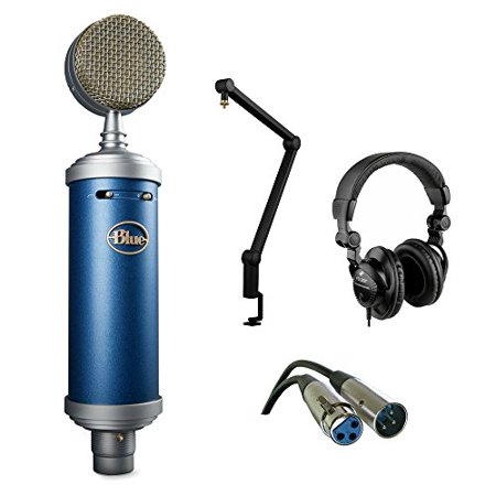 Blue Bluebird SL Large-Diaphragm Condenser Studio Microphone with Blue Compass Tube-Style Broadcast Boom Arm, HPC-A30 Studio Monitor Headphone and XLR-XLR Cable