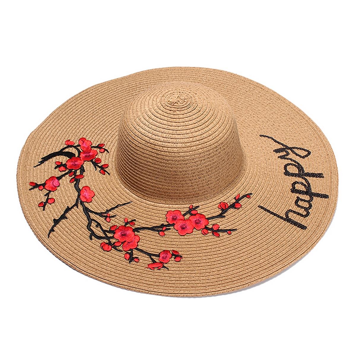 Fashion Culture 'Happy' Floral Applique Wide Brim Sun Hat, Natural