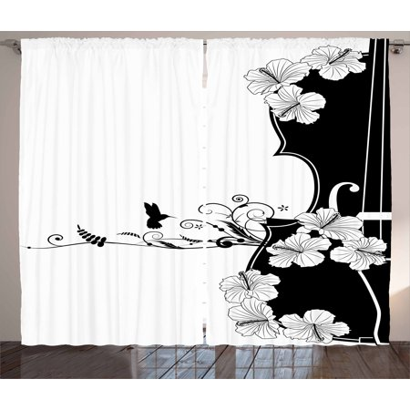 - Art Nouveau Curtains 2 Panels Set, Flower Musical Composition with Bird Scrolled Lily Petals Nature Growth, Window Drapes for Living Room Bedroom, 108W X 63L Inches, Black and White, by Ambesonne