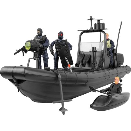 Click N' Play Military Elite Swat Unit Force Patrol Dinghy Boat 25 Piece Play Set With Accessories for $<!---->