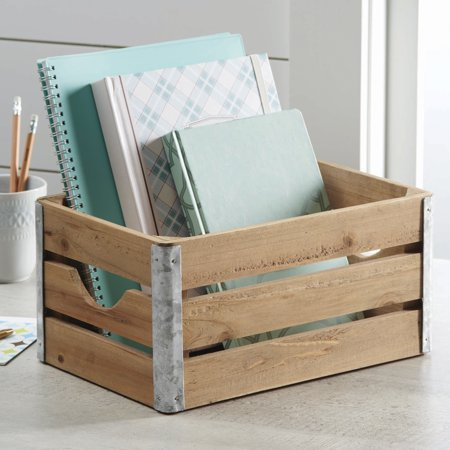 Better Homes & Gardens Small Wood Crate With Galvanized ...