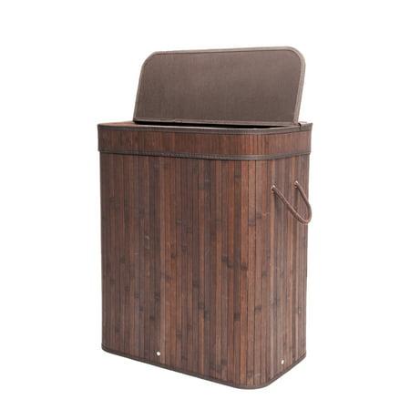 Zimtown Bamboo Laundry Hamper Basket Wicker Clothes Storage Bag Sorter Bin Organizer Lid