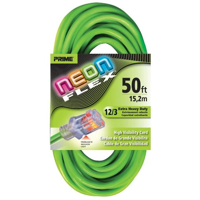 Prime NS512830 Neon Green Flex Extension Cord, 50 ft.