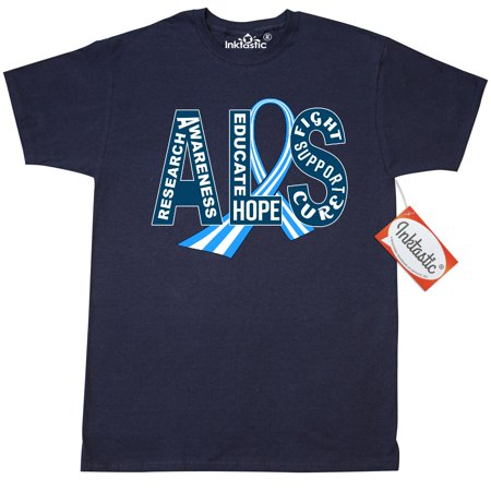 Inktastic ALS Awareness Ribbon T-Shirt Support May Blue And White Striped Lou Gehrigs Disease Family Research Cure Mens Adult Clothing Apparel Tees T-shirts - Family Clothes Store