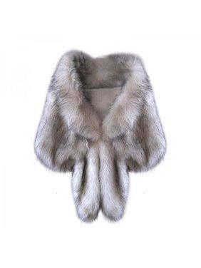 Jlong Fashion Women Bridal Wedding Faux Fur Shawl Stole Wrap Winter Shaggy Shrug Scarf Outwear