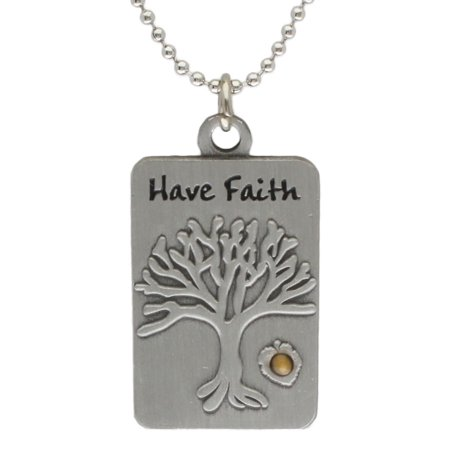Mustard Seed Necklace (Mustard Seed Tree of Life Dog Tag Christian)