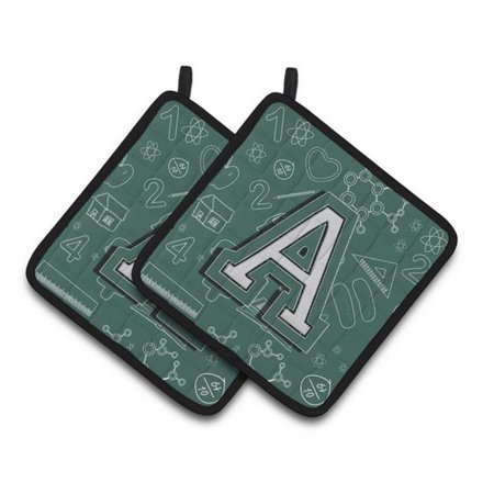 Carolines Treasures CJ2010-APTHD Letter A Back to School Initial Pair of Pot Holders, 7.5 x 3 x 7.5 in. - image 1 de 1