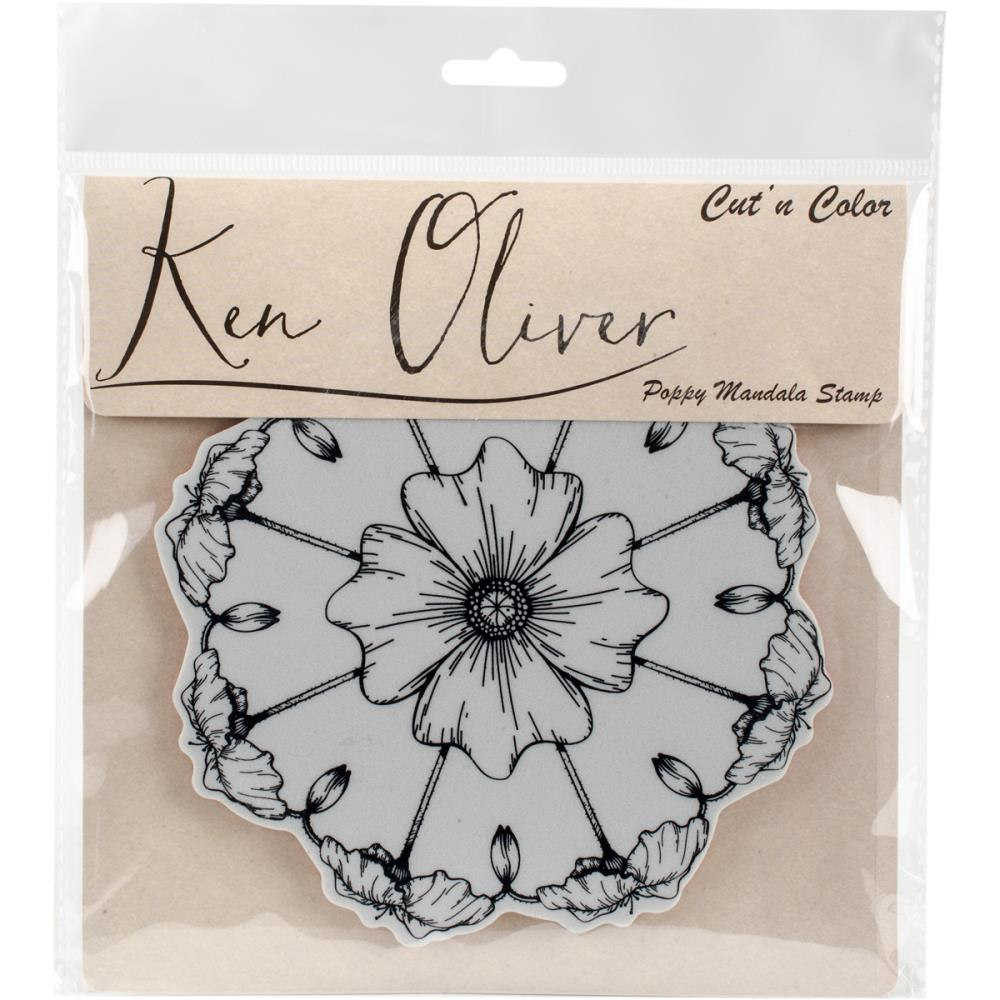 Ken Oliver Cut n Color Cling Stamp-Poppy Mandala