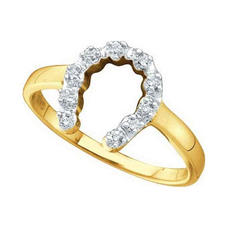 10kt Yellow Gold Womens Round Diamond Two-tone Simple Lucky Horseshoe Ring 1/20 Cttw