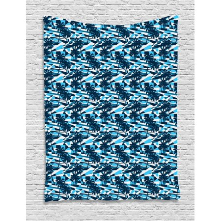 Palm Tree Tapestry, Fractal Looking Geometric Backdrop in Blue Shades with Tree Silhouettes, Wall Hanging for Bedroom Living Room Dorm Decor, 40W X 60L Inches, Blue Dark Blue White, by Ambesonne