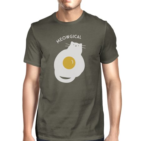 Meowgical Cat And Fried Egg Mens Grey Halloween Cat Lovers Tshirt - Frises Halloween