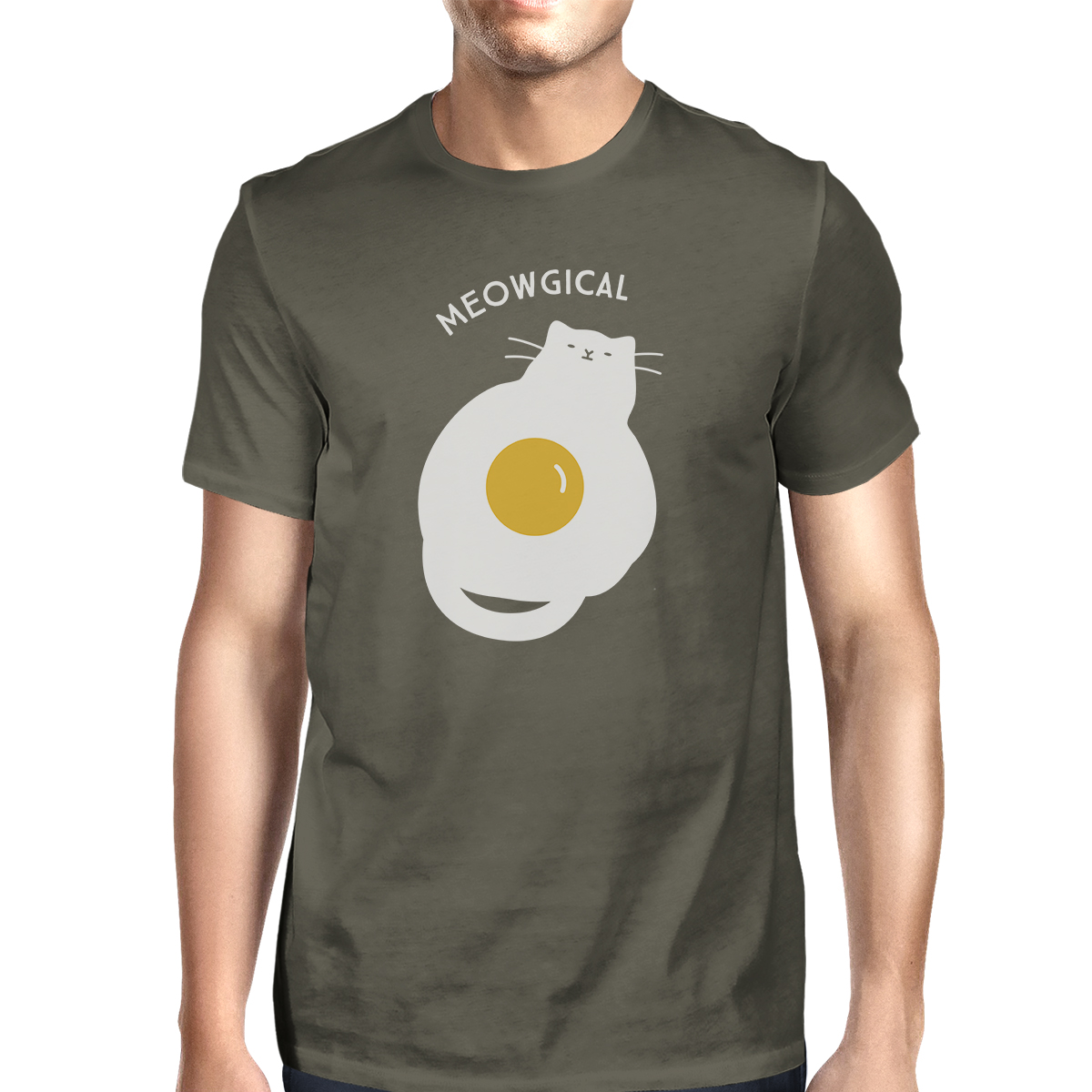 Meowgical Cat And Fried Egg Mens Grey Halloween Cat Lovers Tshirt