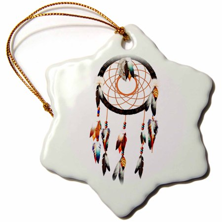 Native Americans Feathers - 3dRose Native American inspired Dream Catcher design, colorful feathers and beads., Snowflake Ornament, Porcelain, 3-inch
