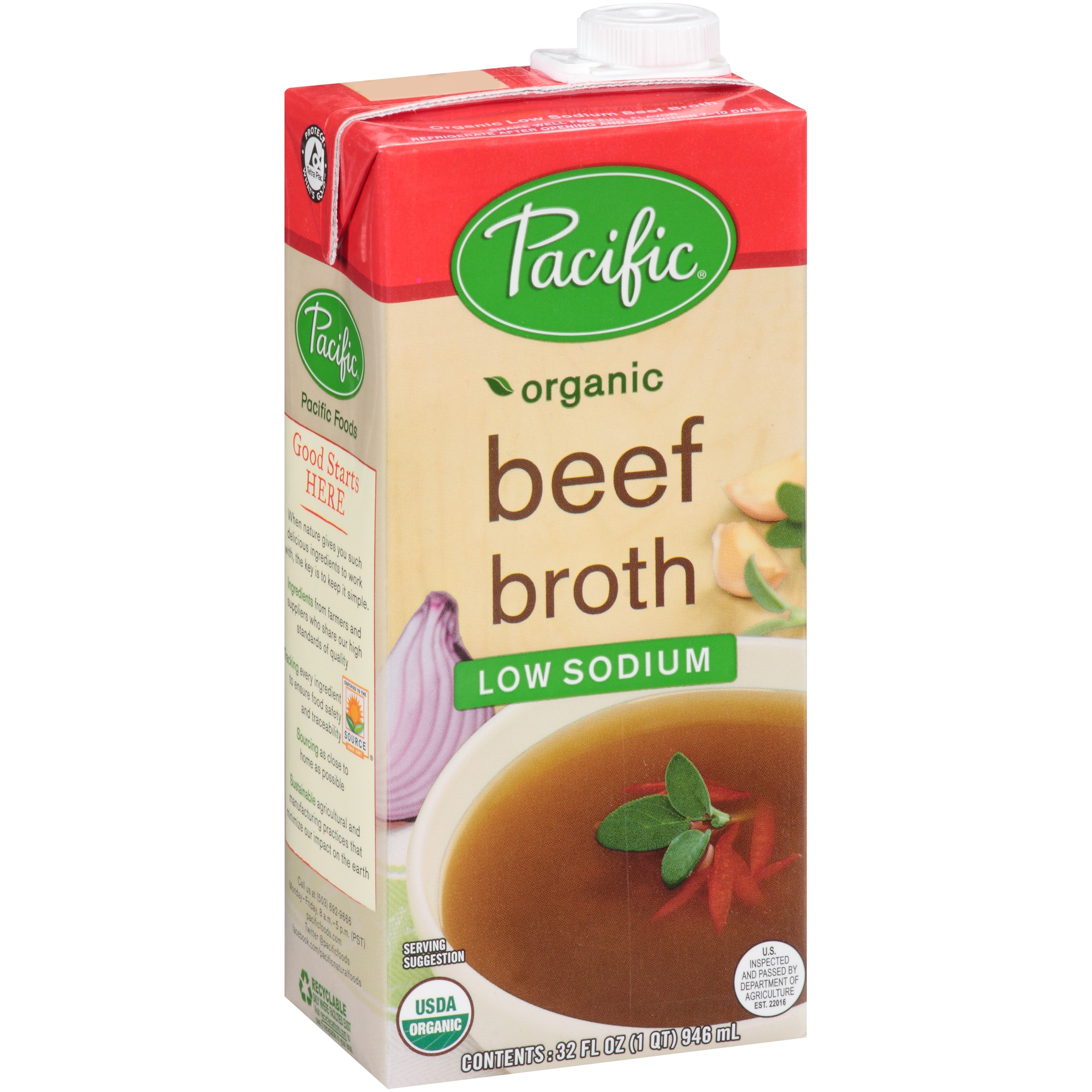 (3 Pack) Pacific Foods Organic Low Sodium Beef Broth, 32-Ounces