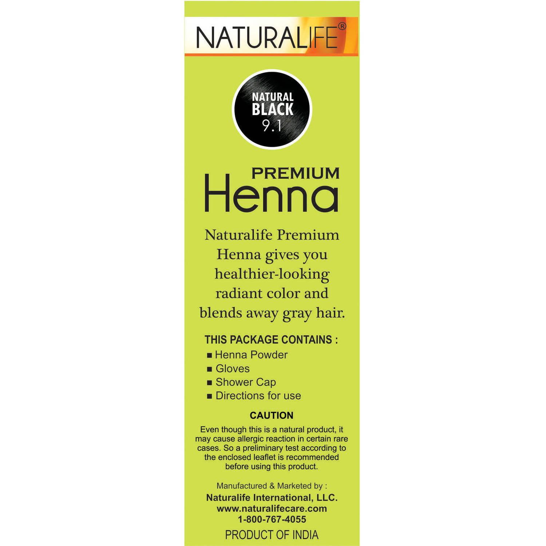 Naturalife Henna Natural Hair Color for Men & Women, Natural Black ...