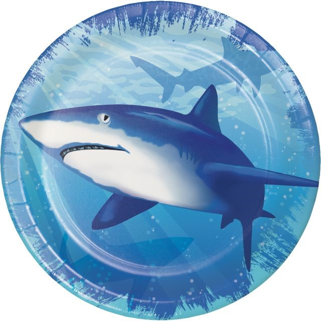 """Party Creations Shark Splash Lunch Plate, 7"""", 8 Ct"""