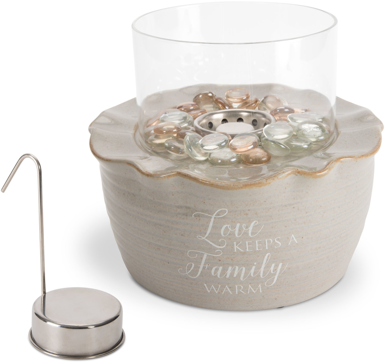 Pavilion - Love Keeps a Family Warm Ceramic Fire Pot with Glass Shade, Beads & Snuffer