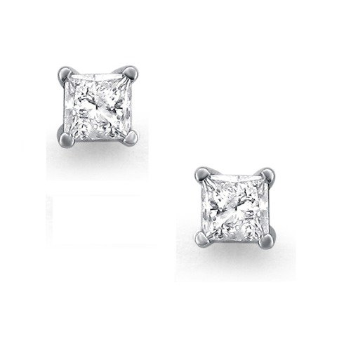 Niru 14k White Gold 1/2 Carat TDW Princess Cut Diamond Solitaire Stud Earrings