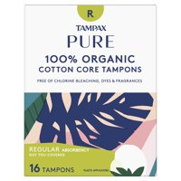 Tampax Pure Organic Regular Absorbency Tampons, Unscented, 16 Ct