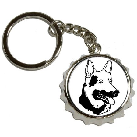 Shepherd Dog Plate - German Shepherd, Dog, Nickel Plated Metal Popcap Bottle Opener Keychain Key Ring