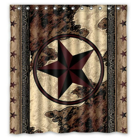 Hellodecor Western Texas Star Shower Curtain Polyester Fabric Bathroom Decorative Curtain Size 66X72 Inches