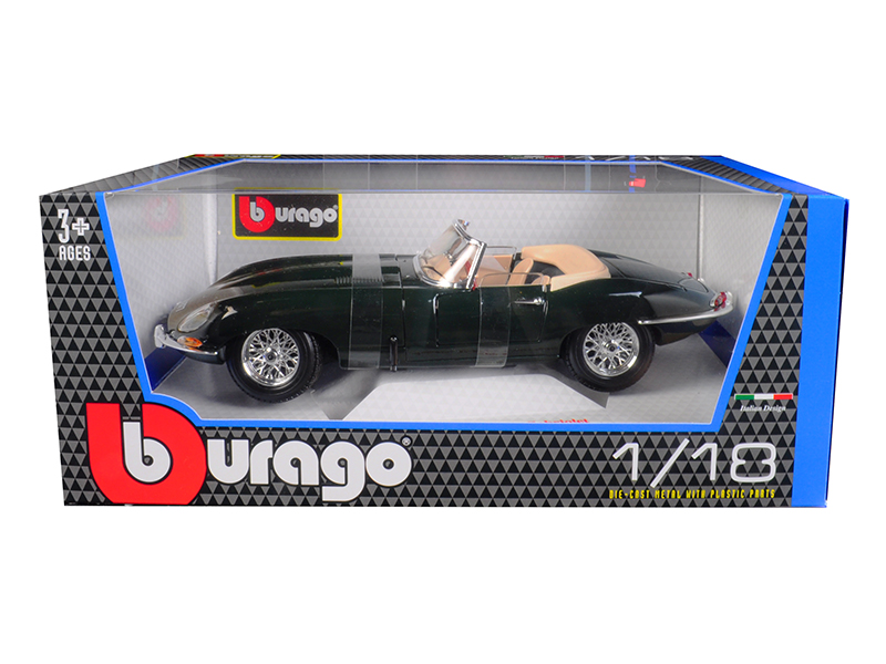 1961 Jaguar E Type Convertible Green 1 18 Diecast Model Car by Bburago by Bburago