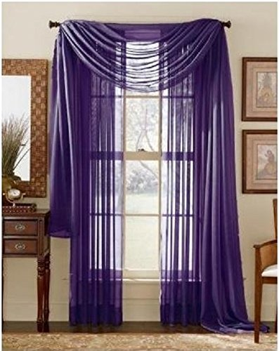 LuxuryDiscounts 2 Piece Solid Purple Elegant Sheer Curtains Fully Stitched Panels Window... by