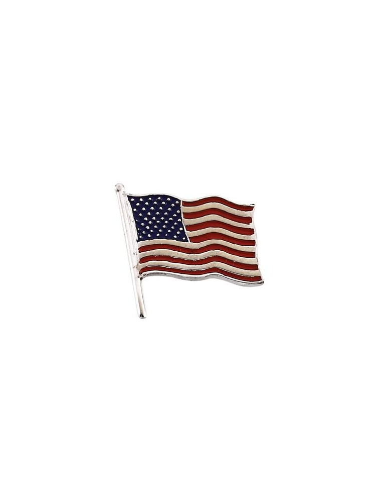 14k White Gold American Flag Lapel Pin 14.5x14mm Color - 1.4 Grams