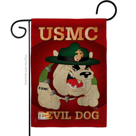 13 x 18.5 in. Devil Dog Burlap Americana Military Impressions Decorative Vertical Double Sided Garden Flag - image 1 of 1