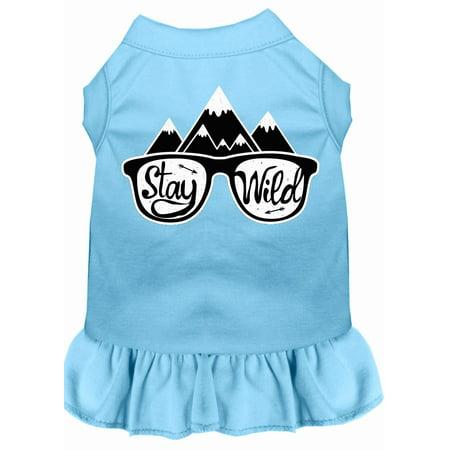 Stay Wild Screen Print Dog Dress Baby Blue Xs (8)