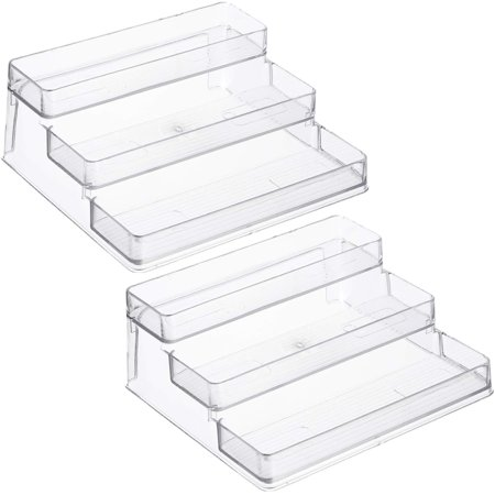 Home Intuition 3-Tier Spice Rack Step Shelf Cabinet Organizer, Clear (2)