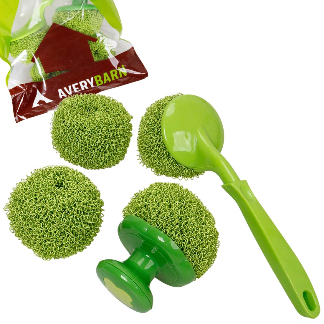 Avery Barn 4pc Kitchen Cleaning Scrubber And Dishwashing Brush Ball Tools Bundle