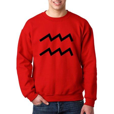 New Way 958 - Crewneck Aquarius Symbol Zodiac Sign The Water Bearer Sweatshirt Medium - Ring Bearer Signs