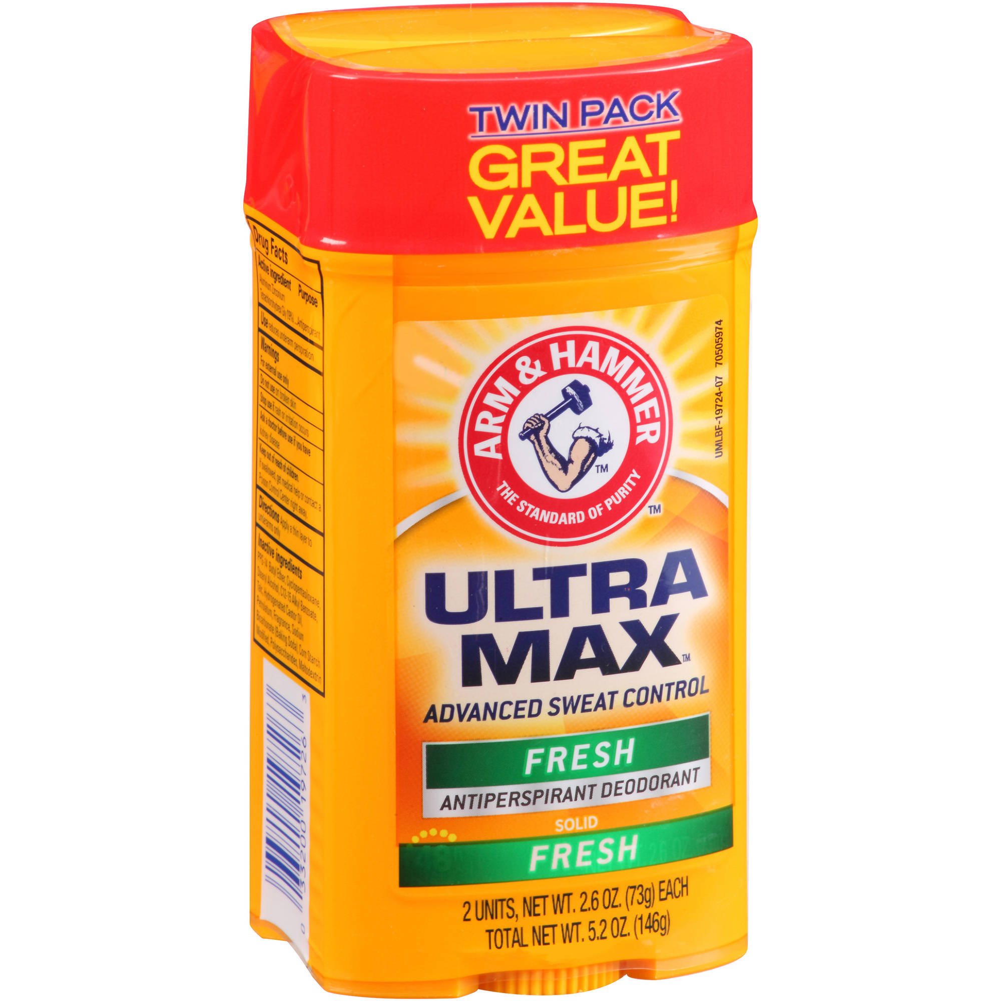 Arm & Hammer Ultra Max Advanced Sweat Control Fresh Solid Antiperspirant Deodorant, 2.6 oz, 2 count