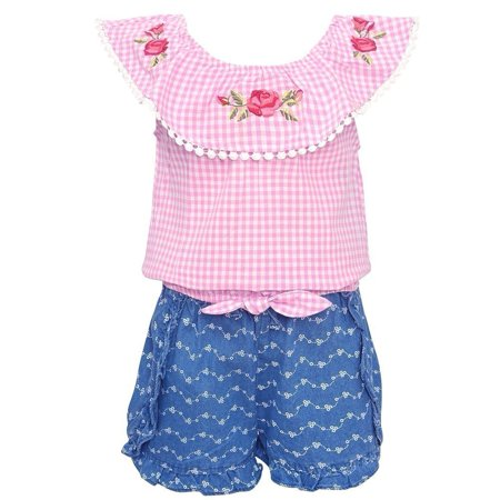 My Destiny Girls Pink Checkered Rose Embroidery 2 Pc Shorts Outfit (Pc Powder Checker)