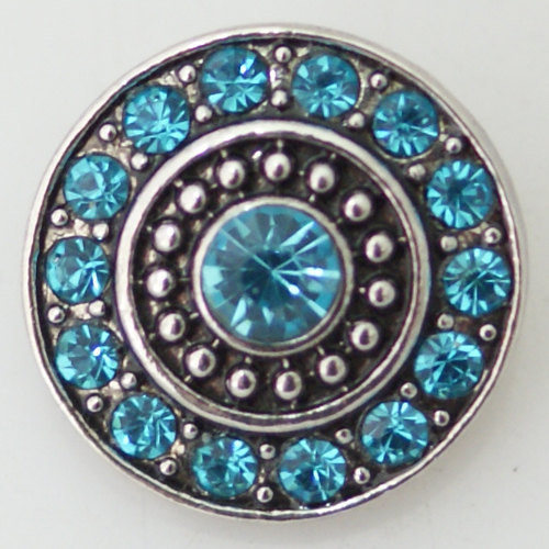 1 PC 18MM Blue Circle Rhinestone Silver Candy Snap Charm KB8669 CC0274