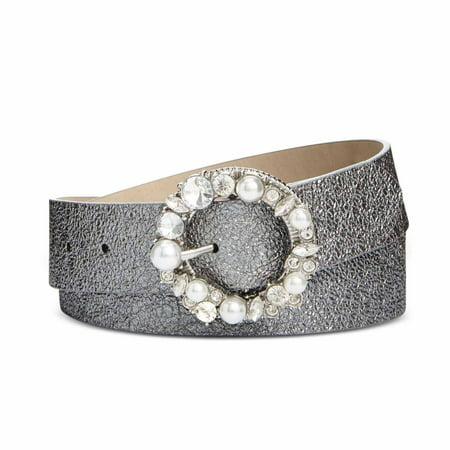 Steve Madden Womens Imitation Pearl & Rhinestone Metallic Belt (Pewter, Medium)