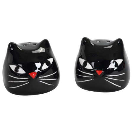 Black Kitty Cat Heads Halloween Salt and Pepper Shaker Set - Pepper Head