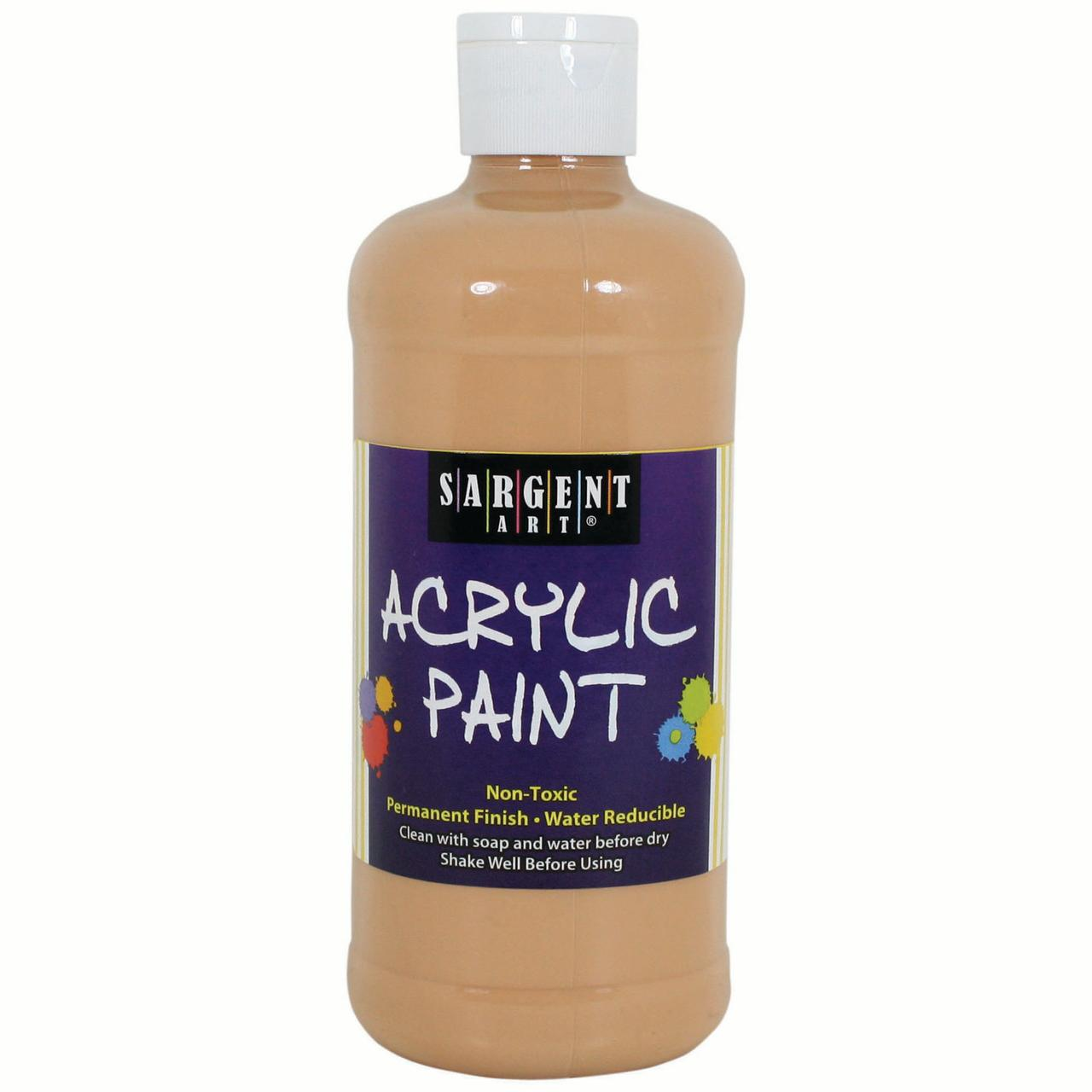 Sargent Art Acrylic Paint 16 Oz Squeeze Bottle Peach 3 Pkg