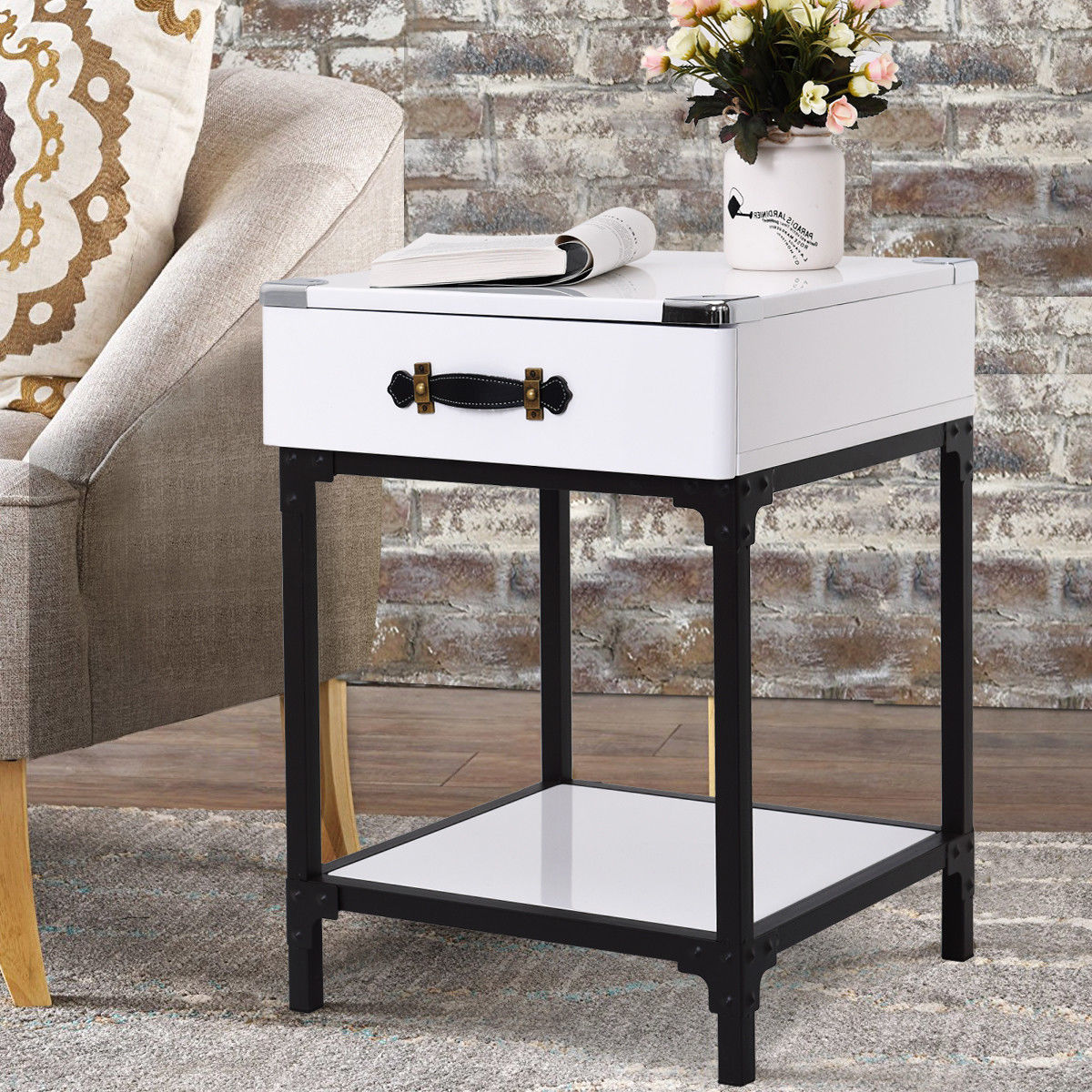 Gymax modern coffee end table accent sofa side table nightstand w drawershelf home