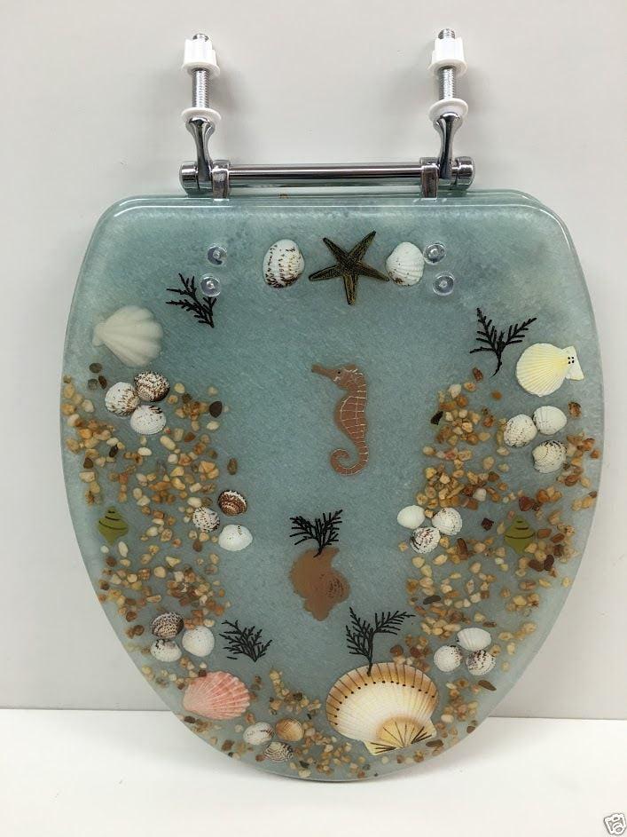 Seashell And Seahorse Resin Toilet Seat