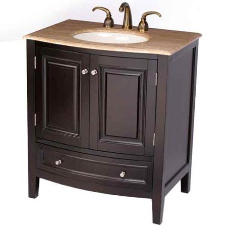 Silkroad exclusive transitional travertine bathroom vanity - Bathroom vanities 32 inches wide ...