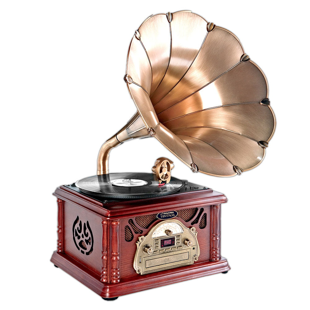 Pyle PTCDCS3UIP Retro Vintage Classic Style Turntable Phonograph Record Player with Horn and USB MP3 Recording by Pyle